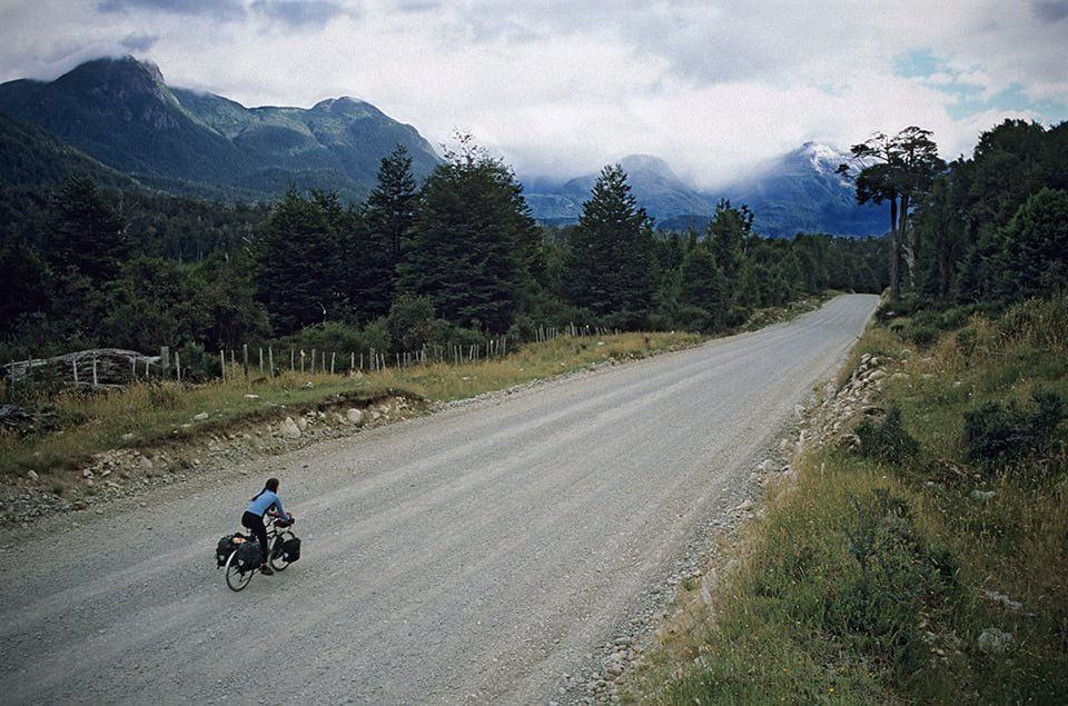 Cyclist on Carretera Austral Patagonian Chile