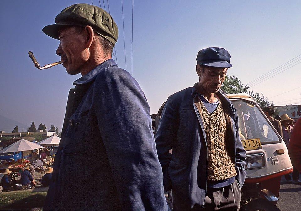Two men smoking Dali, Yunnan Province China